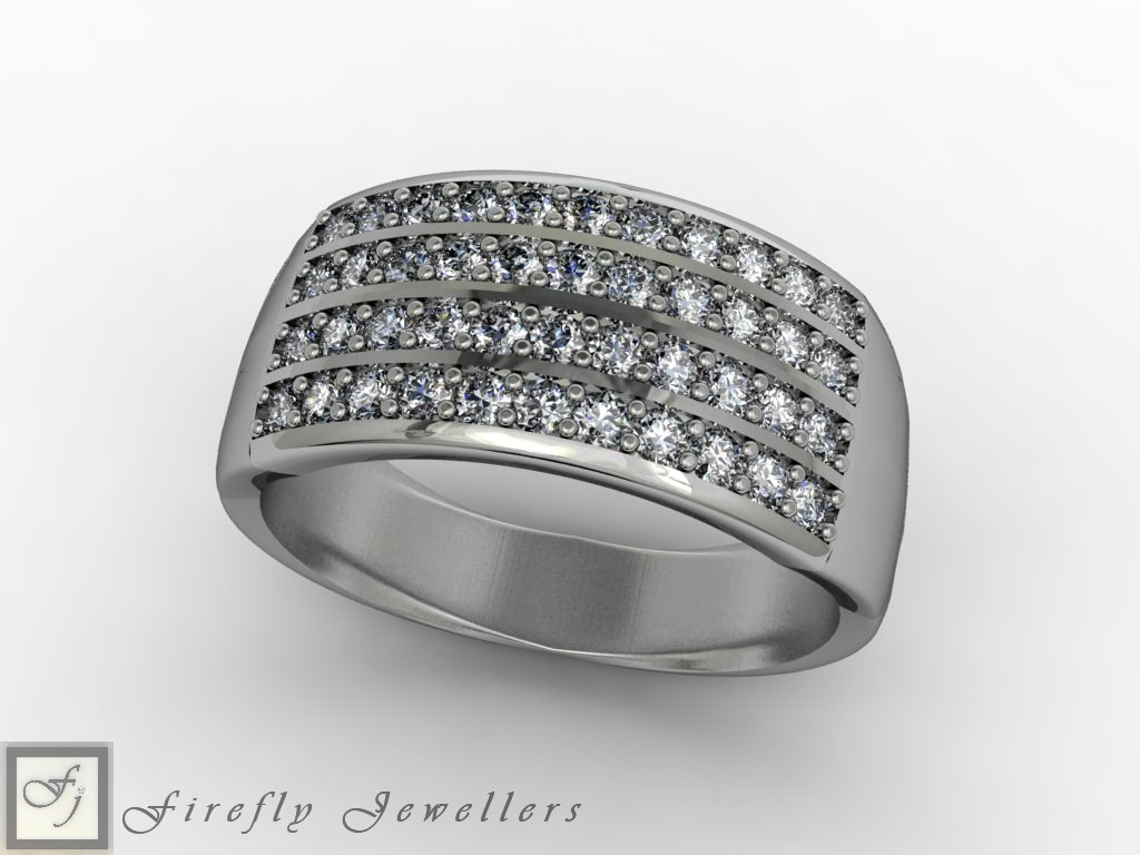 Pave diamond engagement ring with 9kt white gold - F63D