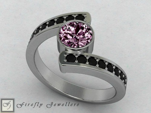 Pink Sapphire and black diamond ring - F25T3