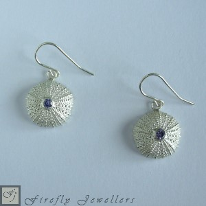 Silver sea urchin earrings with gemstone - E14P