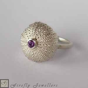 Silver sea urchin ring - F13P