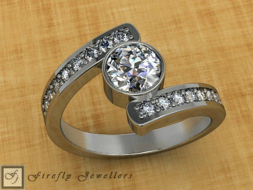 White gold engagement ring with white topaz & diamonds. - F25T2