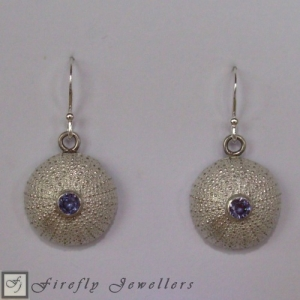 E14P Silver urchin earrings with gemstone g1