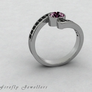 F25T3 Pink Sapphire and black diamond ring g2