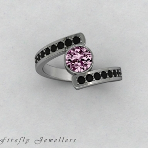 F25T3 Pink Sapphire and black diamond ring g3